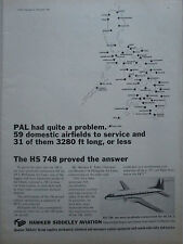 10/1967 PUB HAWKER SIDDELEY AVIATION HS 748 AIRLINER PAL PHILIPPINE AIR LINES AD