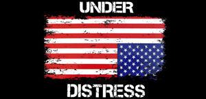 Under Distress USA Upside Down Flag Vinyl Decal Bumper Sticker