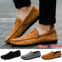 Suede Leather Moccasins Slip On Men Driving Loafers Soft Penny Shoes Boat Shoes