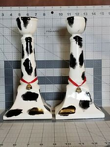 """Pair (2) COW PRINT Candlesticks, Vintage 1990s, Ceramic, Tiny Cow Bell, 10"""" tall"""