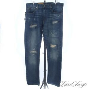 NWT Polo Ralph Lauren Varick Slim Straight Fit Distressed Repaired Wash Jeans 33