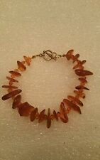 Baltic Amber Nugget Bead Bracelet Sterling Silver Toggle Clasp 8 1/2