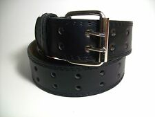 "Men Silver Color Buckle Black Leather Belt Two Hole M 34 - 36"" #9041B"
