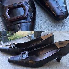 Vtg J Renee Dark Brown Eel Skin Pumps Shoes Fine Leather Upper 10
