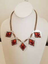 ~ Fabulous J. Crew Red & Orange with Pearls Panel Dangle Statement Necklace ~