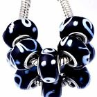 5 Silver plated Black Lampwork Murano Glass Beads European Fit Charm Bracelets