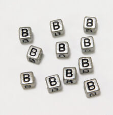 "6mm Silver Metallic Alphabet Beads Black Letter ""B"" 100pc"