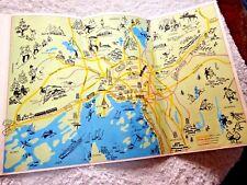 VINTAgE LOVELY CARTOON MAP OSLO NORWAY SUBWAY TRAMS RAILWAYS 1960's