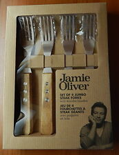 JAMIE OLIVER Set Of 4 Jumbo STEAK FORKS Wooden Handles NEW Hostess Gift R11347
