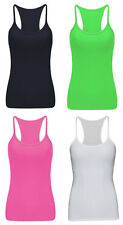 Ladies Womens Plain Sleeveless T-Shirt Vest Summer Razor Back Top UK Sizes 8-16