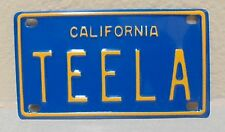 VINTAGE MINI CALIFORNIA TEELA LICENSE PLATE NAME TAG SIGN BICYCLE