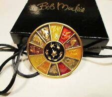 SIGNED BOB MACKIE HOROSCOPE PENDANT GREAT ENAMELED JEWELRY IN ORIGINAL BOX