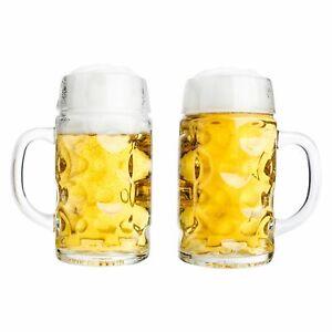 2er Set Maßkrug 0,5 L geeicht Bierkrug Glas Biergläser Krüge Gläser Maßkrüge