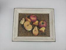 "M. RAWSON SIGNED Realist Pen, Color Pencils, Oil Still Life Apples & Pears 14.5"""