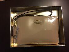 COACH Small L-Zip Wristlet Wallet Leather 55739 Platinum Patent with Gift Box
