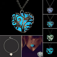 Magic Fairy Glow in the Dark Pendant Locket Heart Necklace Luminous Jewelry Gift