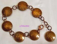 2009 PENNY CHARM BRACELET DOMED COPPER COIN JEWELRY 8 BIRTHDAY ANNIVERSARY GIFT