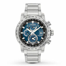 Mens Citizen Eco-Drive World Time Radio Stainless Blue Dial Watch AT9070-51L