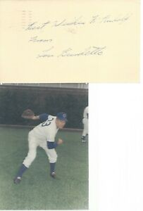 LEW BURDETTE, 1957 MILWAUKEE BRAVES W.S. CHAMP,  SIGNED GPC WITH BRACE PHOTO