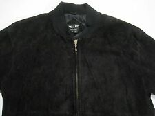 Pelle Leather Suede Jacket Black fully lined fitted waist and cuffs size Large