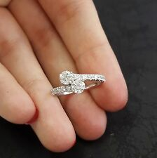 1 Carat Total Forever Us Round Natural Diamond Two Stone Ring 14K White Gold