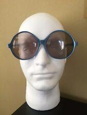 Vintage Renauld USA Blue Oversize Round Butterfly Sunglasses Womens Boho MOD