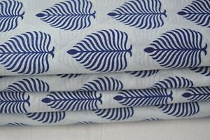 50 Yard Indian Handmade Natural Hand Block Leaf By The Sanganeri Cotton* Fabric