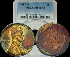 1957-D U.S.A. Penny PCGS MS63RB Spotted Turquoise and Yellow Toned Coin