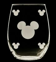 Mickey mouse head etched stemless wine glasses, set of 2! 16 oz