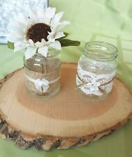 Rustic Farmhouse Wedding Centerpiece ~3pc  Wood Slice ~ Bud vase /tealight hldrs