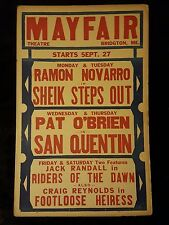 Mayfair 1937 Window Card Movie Poster WC Sheik Steps Out San Quentin 1 Of A Kind