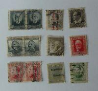 Lote de 12  antiguos sellos Republica Española, Usados