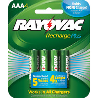 Rayovac Rechargeable AAA Batteries, High Capacity Rechargeable Plus AAA 4 Count
