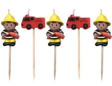 Fireman & Fire truck Mini Toothpick Birthday Candles - set of 5