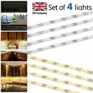 4x LED Under Cabinet Strip Lighting Kit Kitchen Shelf Counter Closet Light Set