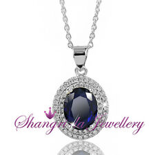 14K 14CT WHITE GOLD GF Blue SAPPHIRE Silver NECKLACE SWAROVSKI DIAMOND L341-N