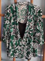 Susan Lawrence 2X Womens Black White Green Layered Dressy Top Blouse