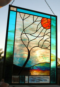 Stained Glass Window Panel Moonlit Tree turquoise white