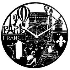 Orologio da Parete in Vinile Idea Regalo Vintage Handmade - Francia Città Parigi