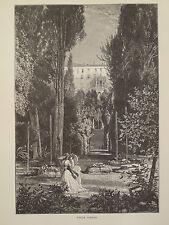 Villa D'Este Tivoli near Rome Italy Antique Engraving 1878