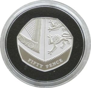 2009 Celebrating 40 Years Royal Shield of Arms 50p Fifty Pence Silver Proof Coin