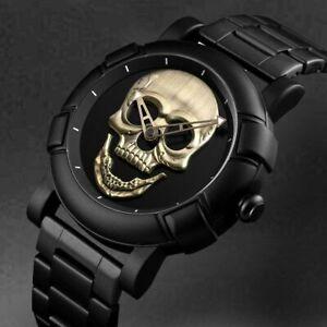 Skull Men's Watch Punk Stainless Steel Sport Waterproof Analog Quartz Wristwatch