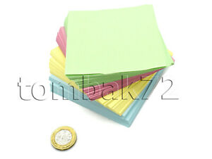 Memo Jotter Block 400 COLOURED LOOSE Paper Note SHEETS Box Cube Holder Refill