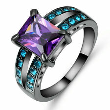 Purple Amethyst &Blue Crystal Wedding Ring Women's  Black Gold Filled Size 8