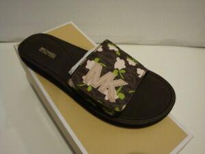 NWB Michael Kors Slide Sandal Soft Faux Leather Brown Multi Mini Rose Size 8