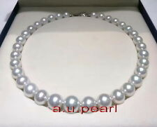 """AAAAA 17""""12-14mm perfect round REAL natural South sea WHITE pearl necklace 14K"""