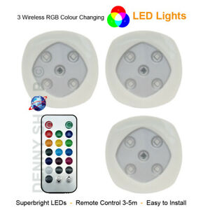 RGB Changing Color LED Lights Home Wireless Remote Control Spotlights,Set of 3/6