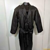 PHASE TWO Long LEATHER Trench Coat Mens Size L Black insulated belted