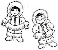 Unmounted Rubber Stamps, Sets, Alaska, Eskimo Boy & Girl Set, Eskimos, Children