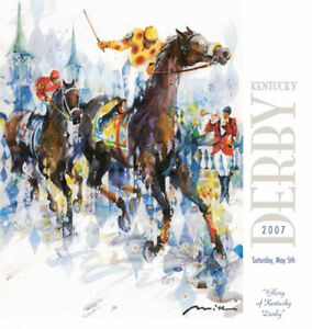 Churchill Downs 133rd KENTUCKY DERBY 2007 OFFICIAL POSTER Horse Racing Action